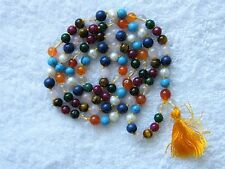 100% GENUINE NINE STONES GEMSTONE MALA CHANTING YOGA HINDU BUDDHISM - 108  BEADS