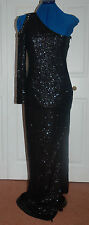 ❄️ New 12 Boohoo Black Full Sequin Wiggle Maxi Dress asymmetric Sleeve TALL
