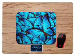 BLUE BUTTERFLIES CUSTOM DESIGN MOUSEPAD MOUSE PAD HOME OFFICE GIFT