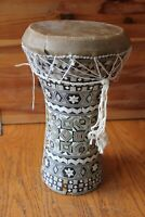 Wood Hand Drum Vintage Africa Doumbek Djembe Goblet Mosaic Mother of Pearl Inlay