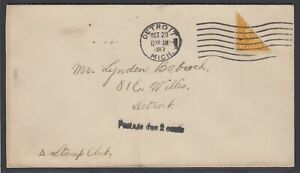 US Sc 472 - 1917 Diagonal BISECT on cover to Detroit Mich, w/ APS cert