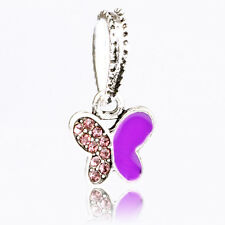 Fine 2pc Purple CZ Paint Butterfly Dangle Charm Bead Fit European Charm Bracelet