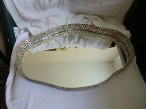 Vintage Oval Goldtone Metal Filigree Mirrored Dresser Vanity Tray