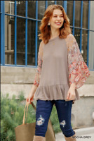 UMGEE S Floral Paisley Mixed Print Bell Sleeve Waffle Knit Top with Ruffle Trim