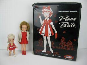Lot of 2 Vintage 1960s Dolls Topper Penny Brite w/ Case & Remco Heidi Pocketbook
