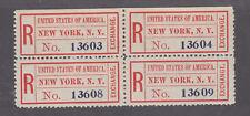 US Sc FX-NY1(iv) MNH. 1883-1911 US Registry Exchange Labels, block of 4