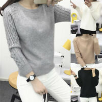 Women's Fashion Solid Knitted Sweaters Pullover Jumper Long Sleeve Pullover Tops