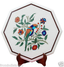 "18""x18"" White Marble Flooring Bird Art Malachite Inlay Marquetry Furniture H2194"