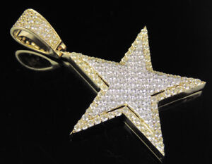 "Men's Diamond Star Pendant in 10K Two Tone Yellow / White Gold 2 1/2 CT 2"""