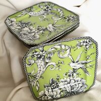 """Set Of 4 ~ 222 Fifth ADELAIDE Green Toile Square Appetizer / Bread Plates 6 1/8"""""""
