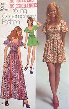 UC Simplicity 9725 Sew Pattern Maxi Mini Dress Retro Boho Teen Flutter Sleeves