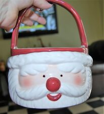 Jolly Santa Claus Face Ceramic Basket Father Christmas Flower Candy Bowl St Nick