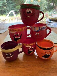 6 Vintage Pillsbury KOOL AID Funny Face Collectible Plastic Mugs Cups