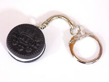 Polymer Clay Oreo Biscuit Keyring Key Chain Silver Plated Food Jewellery Black