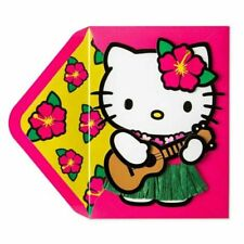 Hello Kitty Hula Papyrus Card - with grass skirt and guitar- Blank inside