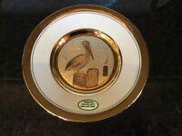 Gold Rim Original Chokin Art Plate Stork Design Dynasty Gallery Japanese
