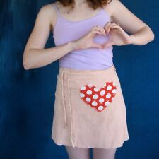 Magpie Rita Artisan Genuine Leather Pink Suede Wrap Skirt Heart Apple Applique S
