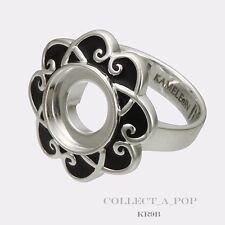 Authentic Kameleon Silver Black Enamel Flower Ring Size 8  KR009B#8 RETIRED