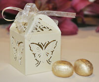 Luxury cut-out design wedding sweets gift favour boxes with ribbon ties