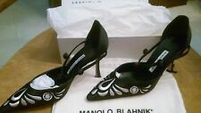 Woman Manolo Blahnik Black and white 8-81/2 (M) Shoes Gorgeous Satin