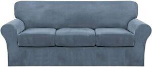 FantasDecor 4 Piece Velvet Sofa Couch Covers for 3 Cushion Stone Blue