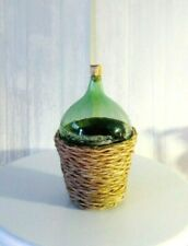 NEW DOLLHOUSE GLASS GREEN DEMIJOHN IN WICKER BASKET, FILLED, ANTIQUE REPLICA