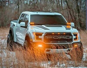 2017 FORD RAPTOR M&R QUAD (4) LED HOOD MOUNT 160w Kit WITH AMBER DRL