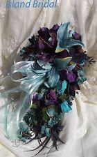 Silk Flower Wedding Bridal Bouquet Set 4 pc Lilies Navy/Purple/Turquoise