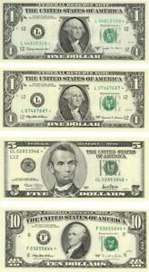 U.S. Lot of 4 Mixed Federal Reserve $1-$10 Star Replacement Banknotes CU