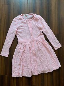 MAJE Pale Pink LAce Skirt Fit & Flare Long Sleeve Dress 1 UK 10 : HARDLY WORN