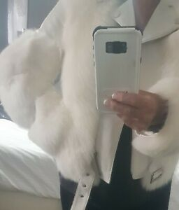 Real Leather and Fox Fur Biker Jacket I have worn it but excellent condition