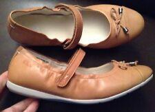 New💖Clarks💖UK Size 5 F Fit Girls JNR Tan Leather Pumps Ballerina Shoes 38EU