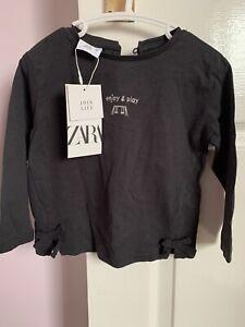 Zara Girls Charcoal Long Sleeve Top 12-18months Brand New