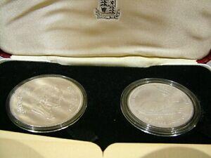 JORDAN 1977 SOLID SILVER PROOF GAZELLE & SUNBIRD 2 COIN SET ROYAL MINT CASED
