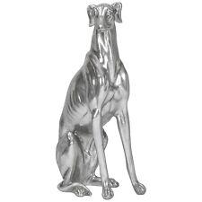 Silver Metallic Greyhound Dog ORNAMENT 52x27x16cm Figurine Front Door Home Decor