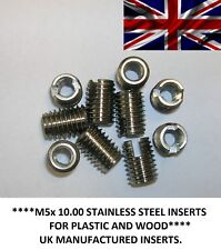 M5x 10.00mm  Stainless Steel threaded Screw-in inserts for wood & plastic (6pcs)