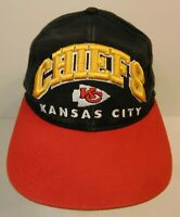 Old Vintage 1990s KANSAS CITY CHIEFS NFL Football Snapback Hat KC Spell Out Logo