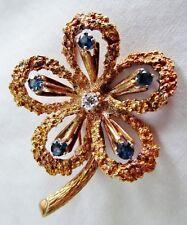Stippled 14K Gold Brooch High Prong Set Sapphire Diamond Flower 10g Estate Fresh