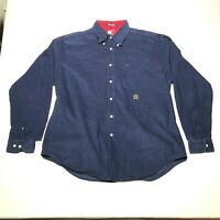 Vintage Tommy Hilfiger Button Down Shirt Mens L Corduroy Navy Blue Red Crest *