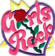 """""""GIRLS ROCK"""" w/ROSE ACCENT- Iron On Embroidered  Patch /Girly Things, Sayings"""