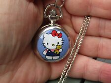 girl Hello Kitty enamel  necklace pendant pocket watch silver tone
