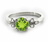 925 Sterling Silver Ring Green Peridot Natural Solitaire Size 4-11