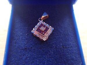 9ct Gold Pendant set with Diamonds  & Rubies - Full Hallmarks