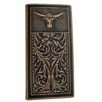 Men's Genuine Leather Wallet Basketweave Long Bifold Western Wallet for Men