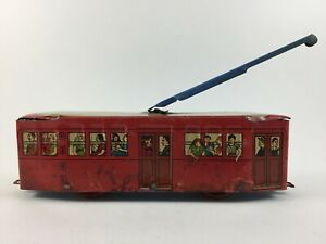 Vintage rare greek tin toy RED COLOUR  tram by Vasiliadis Βασιλειάδης!