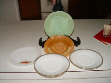 5 FIRE KING  SAUCERS 1 JADITE 2 WHITE SWIRL 1 LUSTRE  1 WHITE NO RESERVE