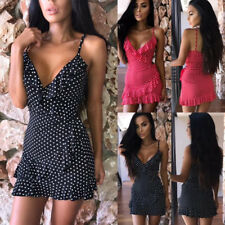 Boho Womens Summer Strappy Polka Dot Ladies Deep V Neck Ruffle Mini Beach Dress