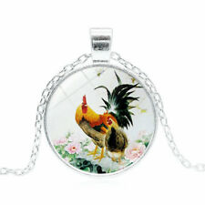 Rooster and Hen Necklace Glass Pendant Cabochon Chain Silver
