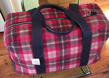 JIL SANDER wool plaid and leather duffel/weekend bag $2,100 EXC+ condition