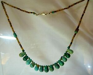 Natural Kingman, AZ Briolette Green Turquoise & Shell Necklace Sterling Silver